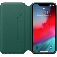 Apple iPhone Leder Folio Waldgrün