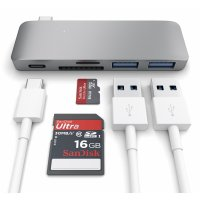 Satechi Type-C USB Passthrough Hub Space Grau