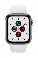 Apple Watch Series 5, GPS + Cellular, 44 mm, Edelstahlgehäuse, Silber, mit Sportarmband, Weiß
