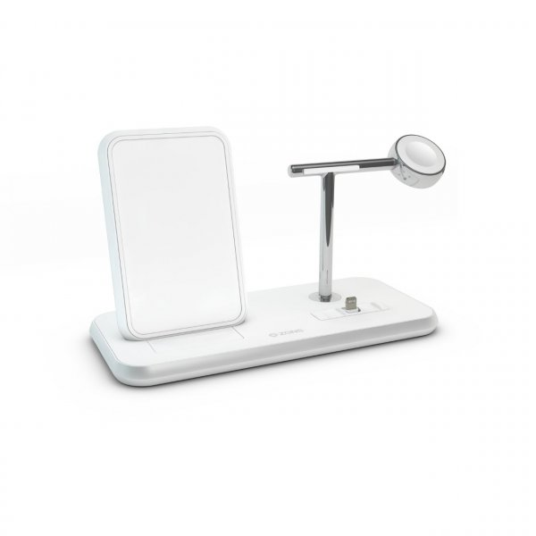 Zens Aluminium Stand + Apple Watch + Dock, Qi Charger, Weiß